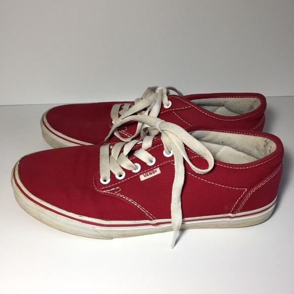 444792a1f0 Vans Red Canvas Lace Up Shoes Skateboarding. M 5b4f80d9fe515118f93263de